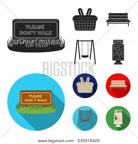 Lawn With A Sign, A Basket With Food, A Bench, A Swing. Park Set Collection Icons In Black, Flat Sty
