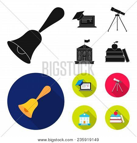 School Bell, Computer, Telescope And School Building. School Set Collection Icons In Black, Flat Sty