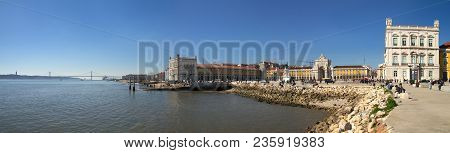 Lisbon, Portugal - February 20: Panorama Of Terreiro Do Paco On February 20, 2018 In Lisbon. Also Kn
