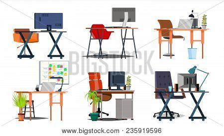 Office Workplace Interior Set Vector. Interior Of The Office Room, Creative Developer Studio. Pc, Co