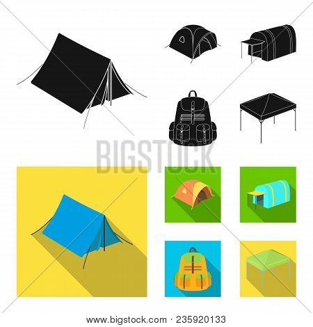 Backpack And Other Kinds Of Tents.tent Set Collection Icons In Black, Flat Style Vector Symbol Stock