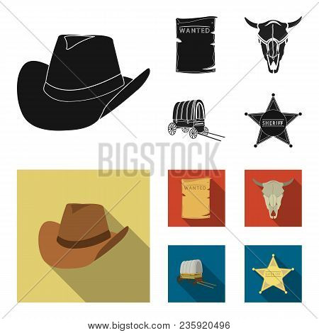 Cowboy Hat, Is Searched, Cart, Bull Skull. Wild West Set Collection Icons In Black, Flat Style Vecto