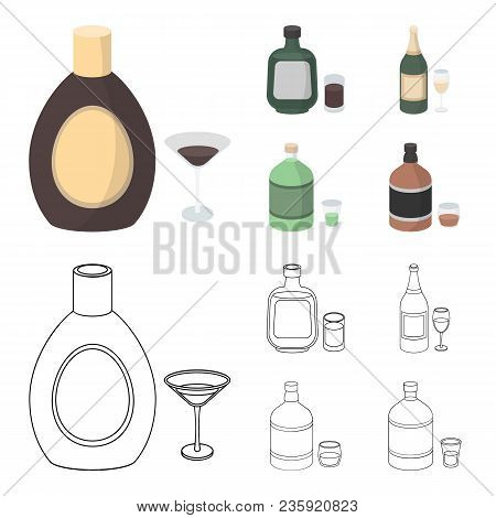 Liquor Chocolate, Champagne, Absinthe, Herbal Liqueur.alcohol Set Collection Icons In Cartoon, Outli