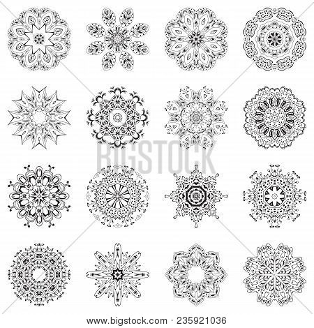 Set Of Ethnic Ornamental Floral Pattern. Hand Drawn Mandalas. Orient Traditional Background. Lace Ci