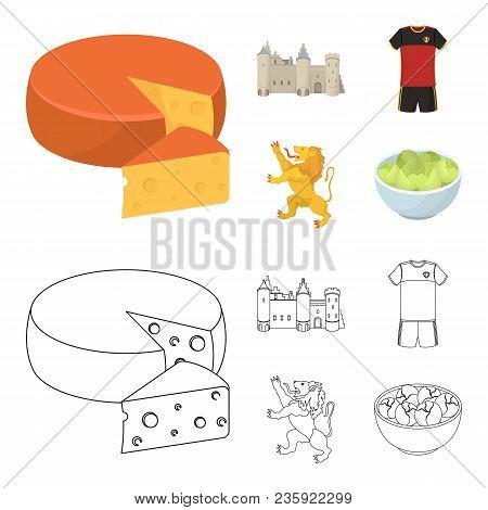 Cheese, Lion And Other Symbols Of The Country.belgium Set Collection Icons In Cartoon, Outline Style