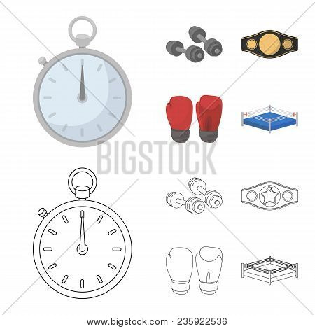Boxing, Sport, Stopwatch, Watch .boxing Set Collection Icons In Cartoon, Outline Style Vector Symbol