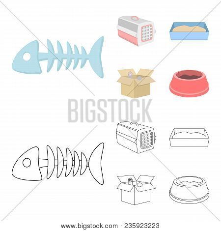 Fish Bone, Container For An Animal, Cat Toilet, Cat In A Box. Cat Set Collection Icons In Cartoon, O
