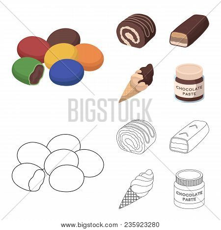 Dragee, Roll, Chocolate Bar, Ice Cream. Chocolate Desserts Set Collection Icons In Cartoon, Outline