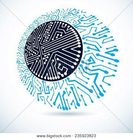 Futuristic Cybernetic Round Scheme, Vector Motherboard Illustration. Digital Element, Circuit Board.
