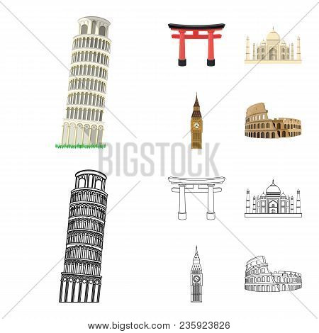 Sights Of Different Countries Cartoon, Outline Icons In Set Collection For Design. Famous Building V