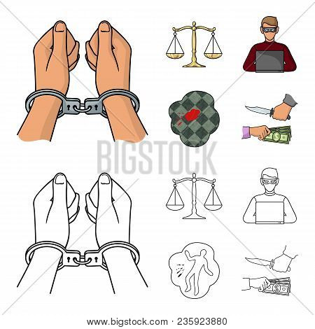 Handcuffs, Scales Of Justice, Hacker, Crime Scene.crime Set Collection Icons In Cartoon, Outline Sty