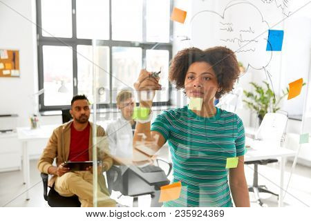 business, startup, planning and people concept - woman drawing scheme on glass board for creative team at office conference or presentation