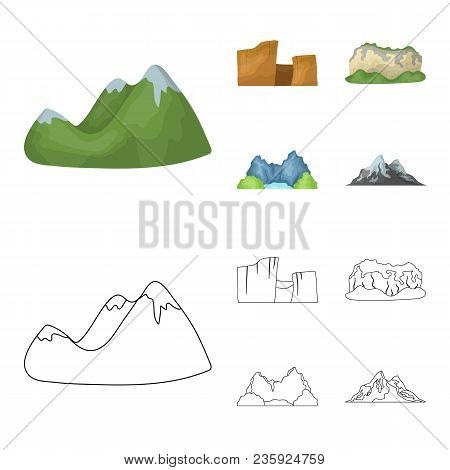 Green Mountains With Snow Tops, A Canyon, Rocks With Forests, A Lagoon And Rocks. Different Mountain