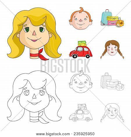 Camping, Woman, Boy, Bag .family Holiday Set Collection Icons In Cartoon, Outline Style Vector Symbo