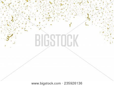Golden Confetti, Isolated On Cellular Background. Festive Vector Illustration Tiny Confetti With Rib
