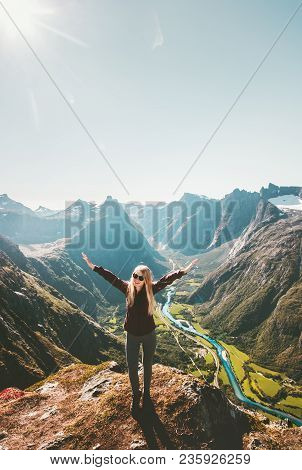 Happy Woman Raised Hands Standing On Cliff Mountain Valley Landscape Travel Healthy Lifestyle Advent