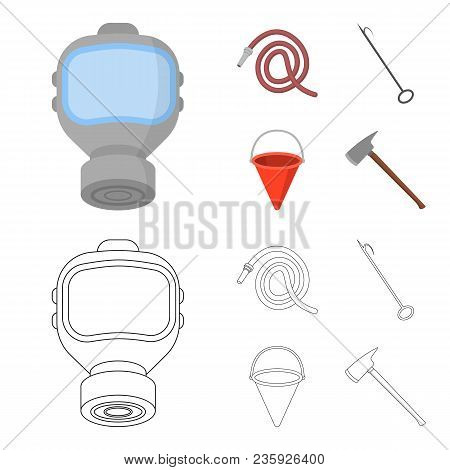 Gas Mask, Hose, Bucket, Bagore. Fire Department Set Collection Icons In Cartoon, Outline Style Vecto