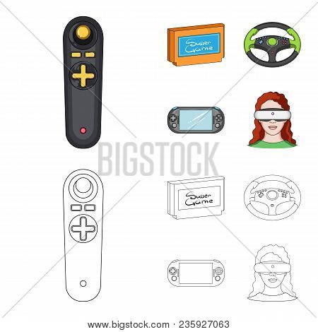 Game Console And Joystick Cartoon, Outline Icons In Set Collection For Design.game Gadgets Vector Sy