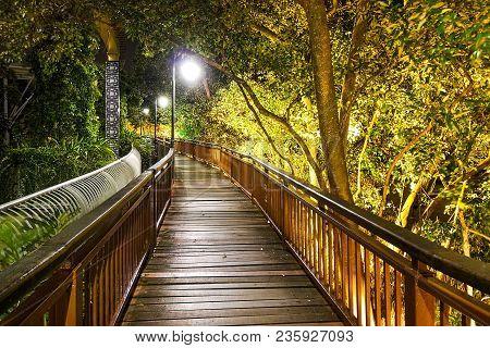 Night Scenic Walking Trail Along Melaka River. Malacca City Is Awarded  Unesco Heritage City For Its