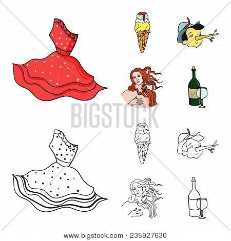Italian Dress, Gelato, Pinocchio, Goddess Of Love. Italy Set Collection Icons In Cartoon, Outline St