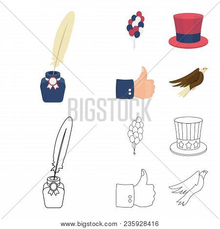 Balloons, Inkwell With A Pen, Uncle Sam Hat. The Patriot Day Set Collection Icons In Cartoon, Outlin