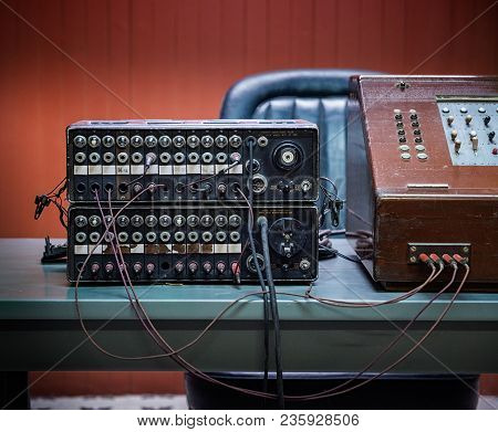 1960s Manual Telephone Switchboard With Sockets And Cables