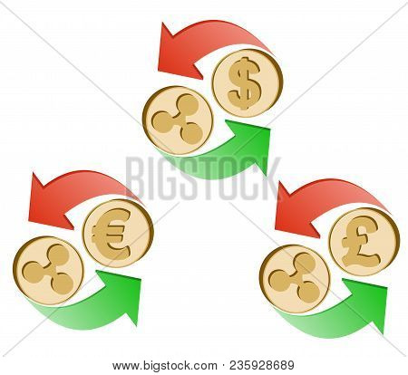 Exchange Ripple To Dollar,euro And British Pound , Coins Of Ripple And Dollar, Euro And British Poun
