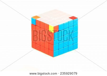 The Rubik`s Cube Five On Five On The White Background. The Solution Sequence Stage Seven. The Object
