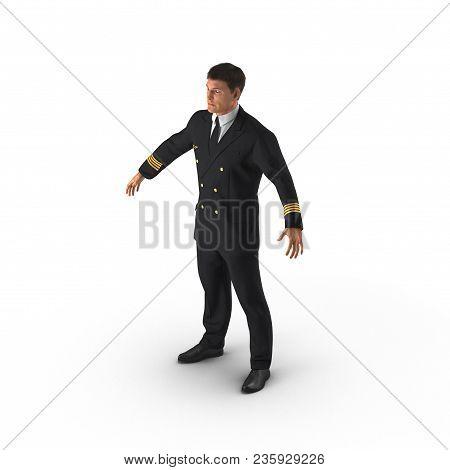 Airline Pilot On White Background. 3d Illustration
