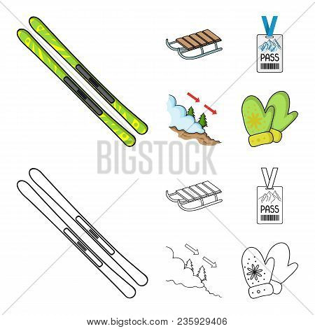 Ski, Sled, Lifeguard Badge, Badge Avalanche. Ski Resort Set Collection Icons In Cartoon, Outline Sty