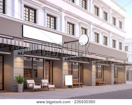 Front Of Classical Style Commercial Building 3d Render.there Are A Street Shop, The Building Has Cla