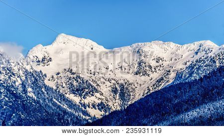 The Snow Capped Peaks The Tingle Peaks And Other Mountain Peaks Of The Coast Mountain Range Seen Fro