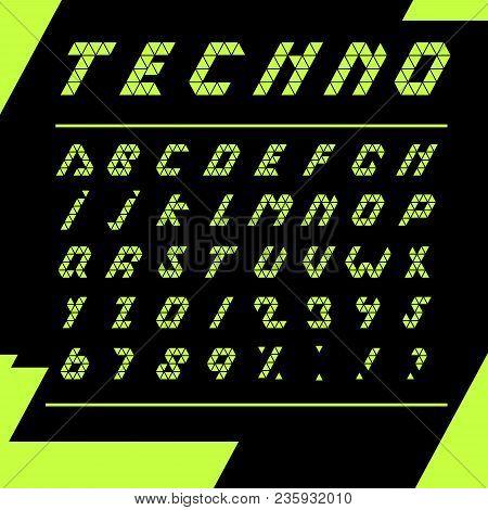Print Techno Alphabet Black Background Fonts Simple