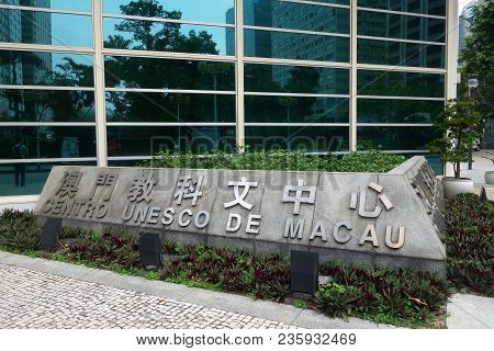 Macau, China- 06 Apr, 2018: The Historic Centre Of Macao Is A Collection Of Over Twenty Locations Th