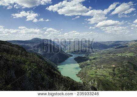 Sky And Mountain Landscape. Nature Landscape. Clouds And Lake Landscape. Outdoor Traveling Landscape