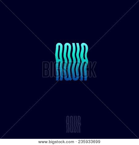 Aqua Spa Logo. Aqua Beauty Emblem. Wavy Letters On A Dark Background.