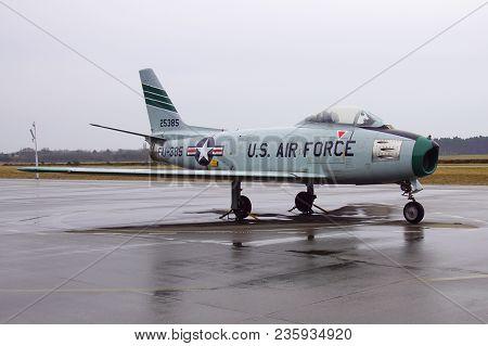 Soesterberg, The Netherlands - April 2, 2018: U.s. Air Force North American F-86e Sabre Fu-385, Stan