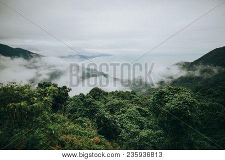 Majestic Landscape In Beautiful Mountains With Green Vegetation, Hai Van Pass, Vietnam
