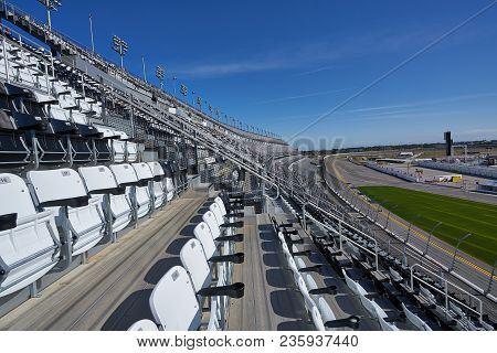 Daytona,florida/usa - January 16 2018: Seating Area Of The Grandstands At Daytona International Spee