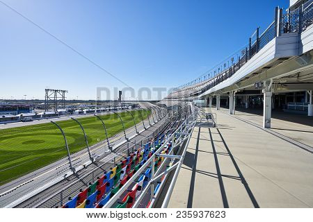 Daytona,florida/usa - January 16 2018:   A Platform In The Seating Area Of The Grandstands At Dayton
