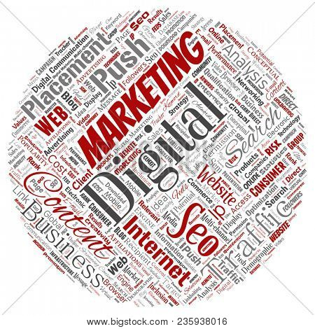Concept or conceptual digital marketing seo traffic round circle red word cloud isolated background. Collage of business, market content, search, web push placement or communication technology