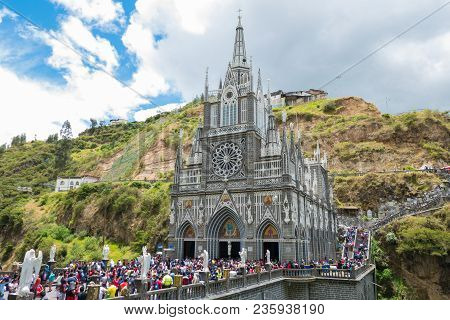 Ipiales Colombia March 2018 This Is The Sancturay Of Las Lajas In Ipiales South Of Colombia. It Is A