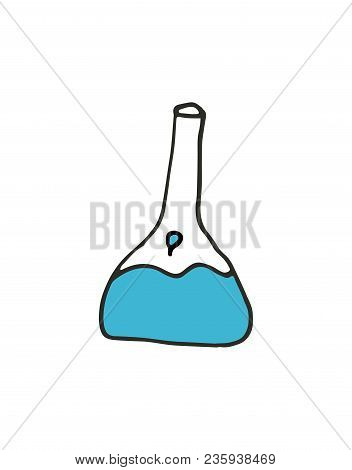 Vector Hand Drawn Flask Outline Doodle Icon. Flask Sketch Illustration For Print, Web, Mobile And In