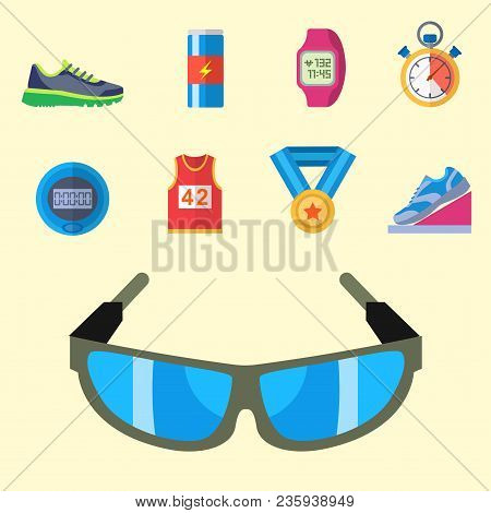 Fashion Dressing Run Sport Accessory Icons Vector Set. Sneaker Activity Footwear Exercise Workout. M