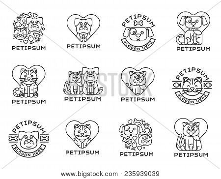 Pet Cat And Dog Vector Domestic Insignia Silhouette Veterinary Medical Refuge Shelter Center For Hom