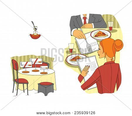 Business Meeting In The Restaurant. Business Lunch. Situations. Etiquette. Talks For Lunch. Raster I