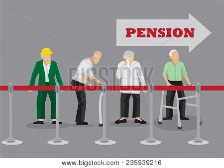 Group Of Old People Standing Behind Queue Barrier Waiting In Line For Pension Payment. Vector Illust