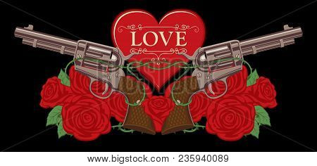 Vector Banner On The Theme Of Love And Death. Template For Clothes, Textiles, T-shirt Design. Illust