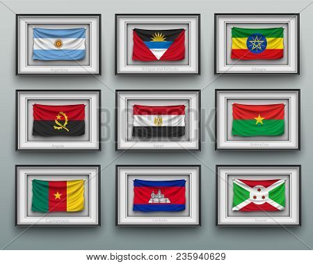 Set Waving Flags In Picture Frame On The Wall