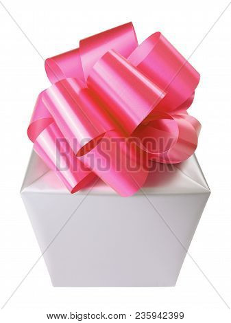 Grey Gift Box With Red Bow Isolated Over White Background